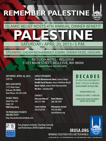 April 20: Fundraising dinner – Remember Palestine: Bellevue, WA
